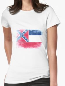 Mississippi State Flag Distressed Vintage Womens Fitted T-Shirt