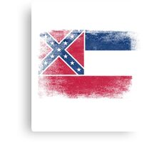 Mississippi State Flag Distressed Vintage Canvas Print