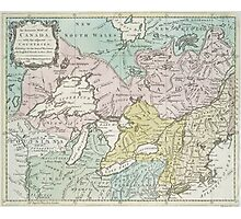 Vintage Map of Great Lakes & Canada (1761) Photographic Print