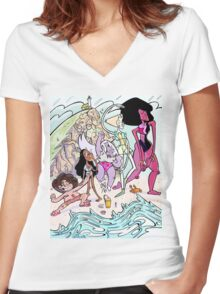 Universe Beach Day Women's Fitted V-Neck T-Shirt