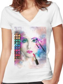 Woman face. fashion illustration. make up,abstract Women's Fitted V-Neck T-Shirt
