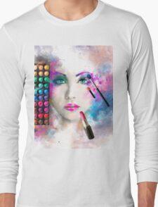 Woman face. fashion illustration. make up,abstract Long Sleeve T-Shirt