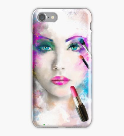 Woman face. fashion illustration. make up,abstract iPhone Case/Skin