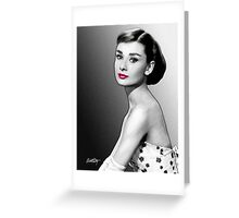 Audrey Hepburn - Black, White & Red Greeting Card