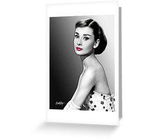 Audrey Hepburn - Black, White & Red Greeting Card