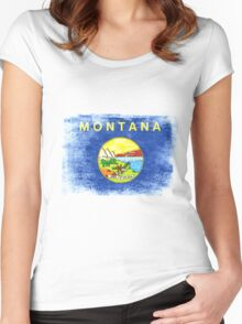 Montana State Flag Distressed Vintage  Women's Fitted Scoop T-Shirt