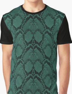 Tiffany Aqua and Black Python Snake Skin Reptile Scales Graphic T-Shirt