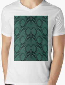Tiffany Aqua and Black Python Snake Skin Reptile Scales Mens V-Neck T-Shirt