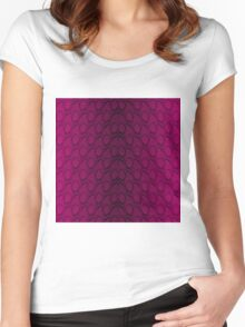 Hot Neon Pink and Black Python Snake Skin Reptile Scales Women's Fitted Scoop T-Shirt