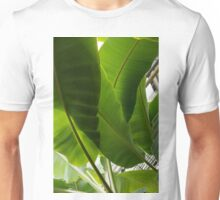 Luscious Tropical Greens – Huge Leaves Patterns – Vertical View Upwards Left Unisex T-Shirt