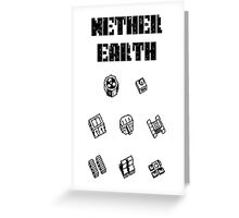 Nether Earth robot parts with title Greeting Card