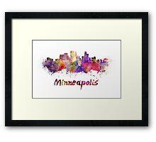 Minneapolis skyline in watercolor Framed Print