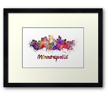 Minneapolis skyline in watercolor Framed Print