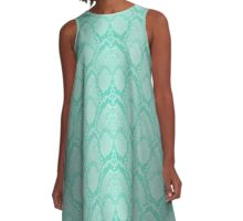 Tiffany Aqua Blue and White Python Snake Skin Reptile Scales A-Line Dress