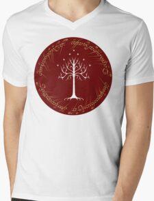 White/Burgundy Tree of Gondor Mens V-Neck T-Shirt