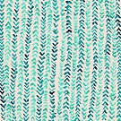 Hand Painted Herringbone Pattern in Mint by Tangerine-Tane