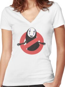 No No Face  Women's Fitted V-Neck T-Shirt