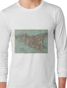Vintage Map of Sicily Italy (1911) Long Sleeve T-Shirt