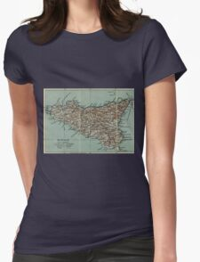 Vintage Map of Sicily Italy (1911) Womens Fitted T-Shirt