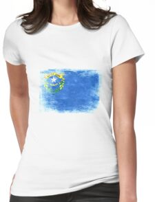 Nevada State Flag Distressed Vintage  Womens Fitted T-Shirt