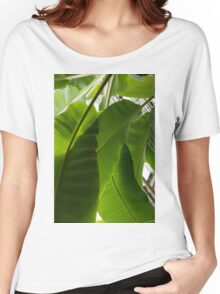 Luscious Tropical Greens - Huge Leaves Patterns - Vertical View Downward Left Women's Relaxed Fit T-Shirt