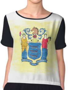 New Jersey State Flag Distressed Vintage Chiffon Top