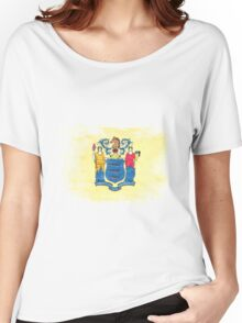 New Jersey State Flag Distressed Vintage Women's Relaxed Fit T-Shirt