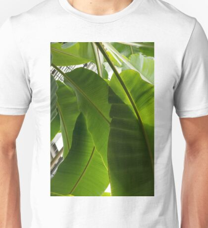 Luscious Tropical Greens - Huge Leaves Patterns - Vertical View Downward Right  Unisex T-Shirt