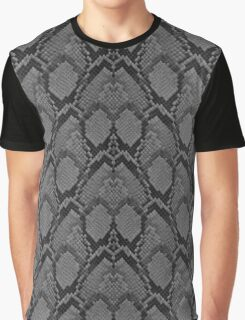 Black and Grey Faded Python Snake Skin Reptile Skin Graphic T-Shirt