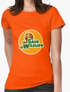 Save Wildlife Emblem with Lion Womens Fitted T-Shirt