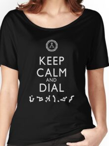 Keep Calm and Dial Earth (white) Women's Relaxed Fit T-Shirt