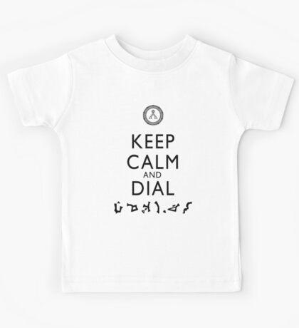 Keep Calm and Dial Earth (black) Kids Tee