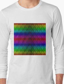 Bright Metallic Rainbow Python Snake Skin Horizontal Reptile Scales Long Sleeve T-Shirt