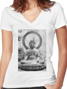 The Buddha, Statue Women's Fitted V-Neck T-Shirt