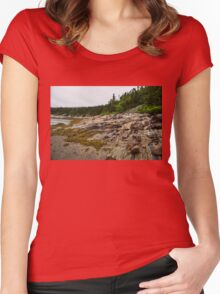 Low Tide - Walking on the Bottom of Saint Lawrence River Women's Fitted Scoop T-Shirt