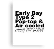 Early Bay Pop Type 2 Pop Top Black LTD Canvas Print