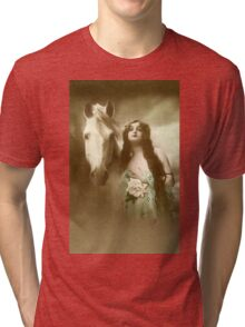 Woman With Horse Tri-blend T-Shirt