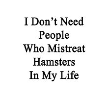 I Don't Need People Who Mistreat Hamsters In My Life Photographic Print