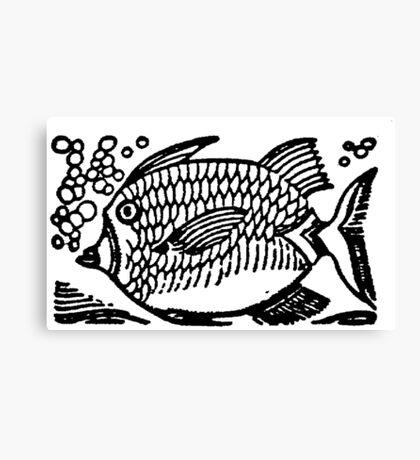 Woodcut Fish  Canvas Print