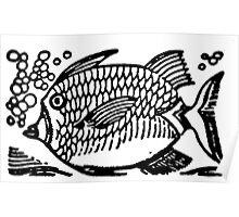 Woodcut Fish  Poster