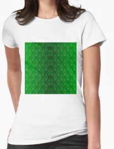 Neon Green and Black Snake Skin Reptile Scales Womens Fitted T-Shirt