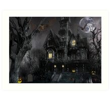 Dark Haloween Haunted House Art Print