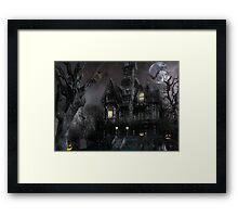 Dark Haloween Haunted House Framed Print