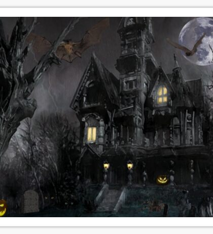 Dark Haloween Haunted House Sticker