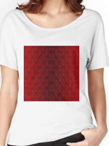 Red and Black Python Snake Skin Reptile Scales Women's Relaxed Fit T-Shirt