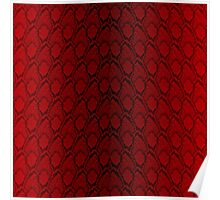Red and Black Python Snake Skin Reptile Scales Poster