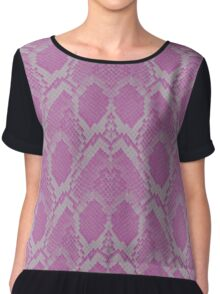 Pink and White Python Snake Skin Reptile Scales Chiffon Top