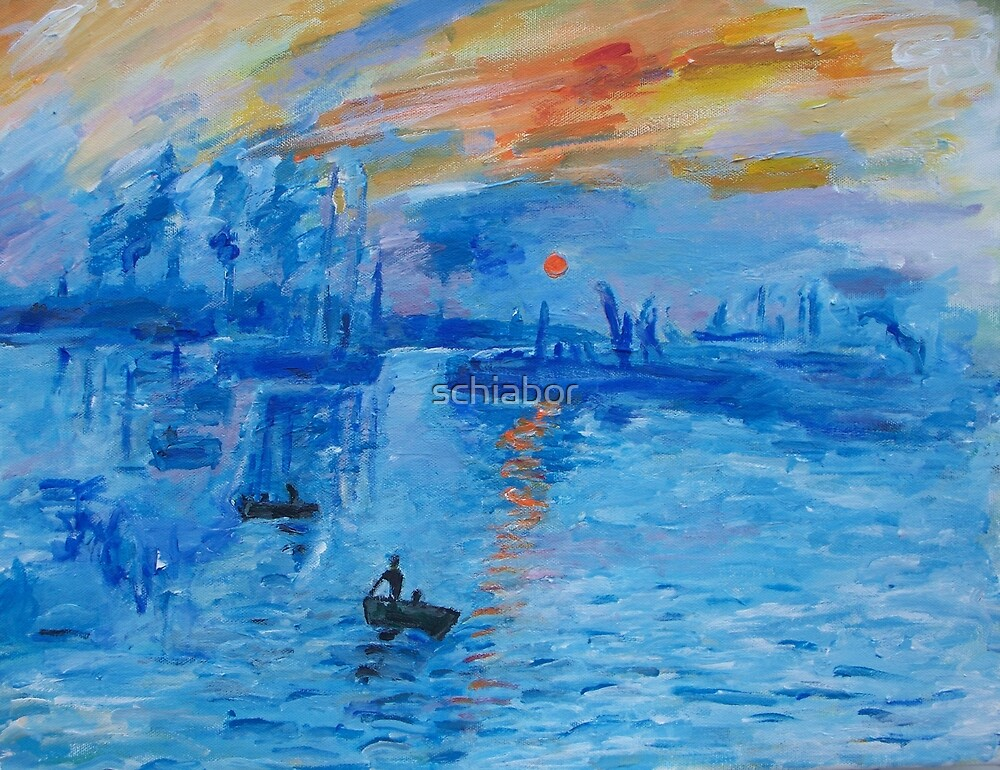 Impression, Sunrise Monet painting Soleil Levan by schiabor