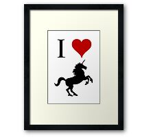 I Love Unicorns (black design) Framed Print