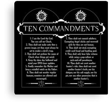 Supernatural 10 Commandments Canvas Print